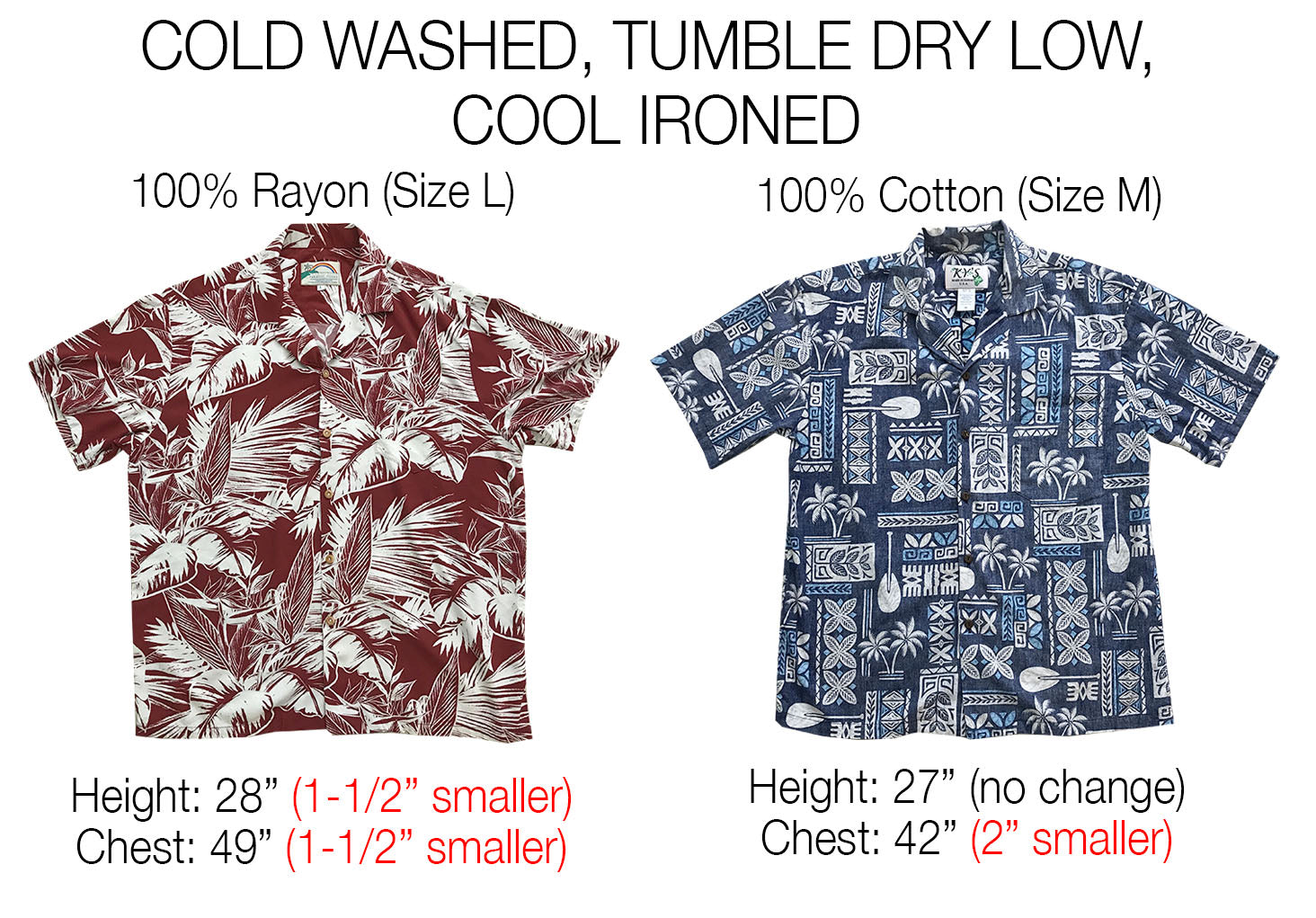 tumble dried Hawaiian shirts