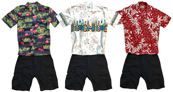 various Hawaiian shirts with black shorts