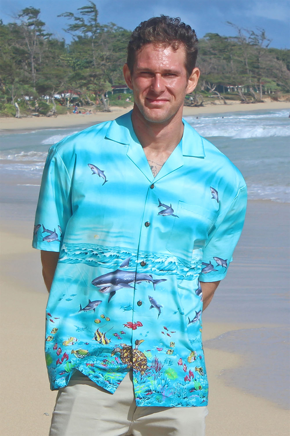 Yves Shark Storm border print Hawaiian shirt made of 100% cotton