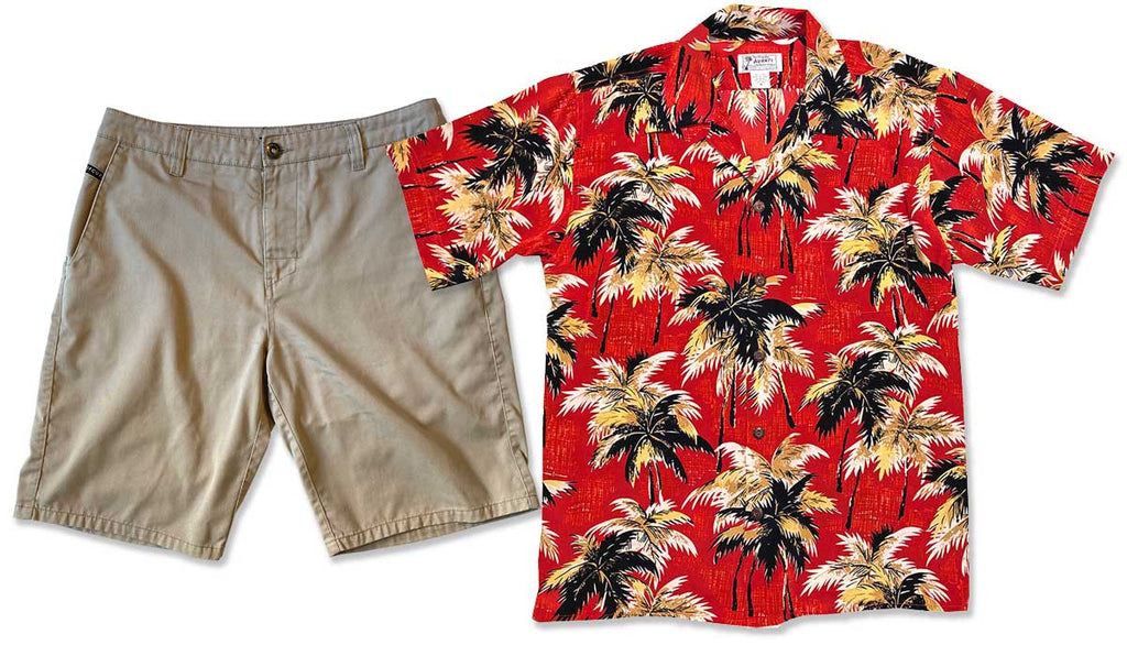 Breeze Red Retro Hawaiian shirt with khaki shorts