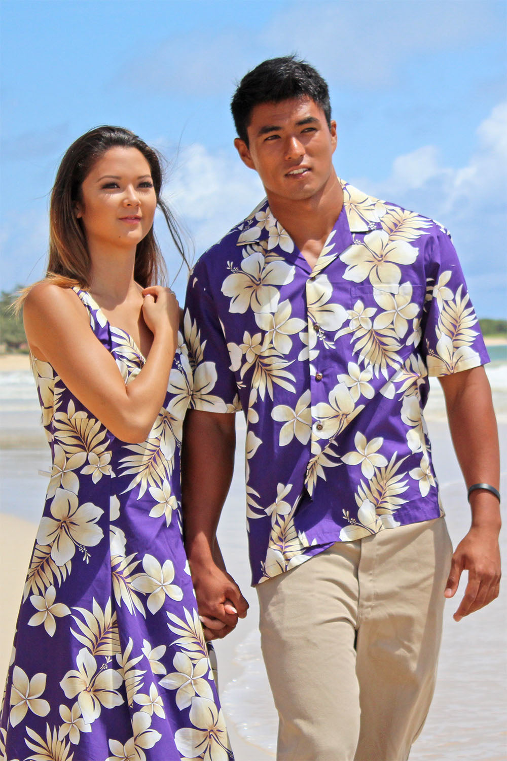 Mike and Ashlee in matching Tropic Fever Aloha shirt and dress