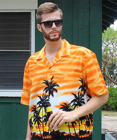 Davis Rozitis is ready to party in orange Sunset Glow shirt