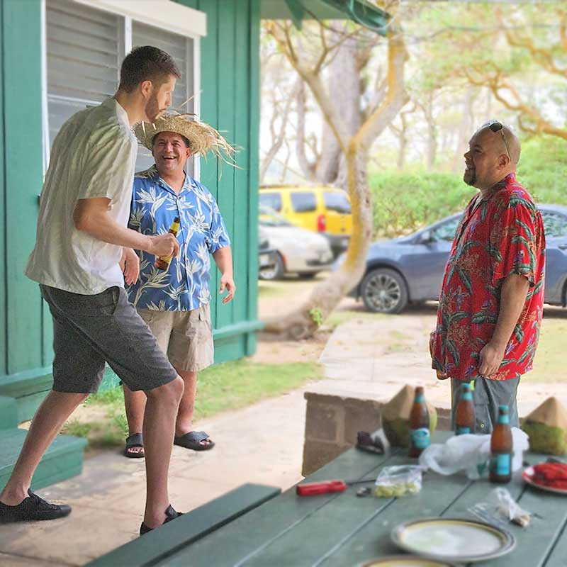Davis Rozitis shares basketball stories in Bamboo Garden Hawaiian shirt