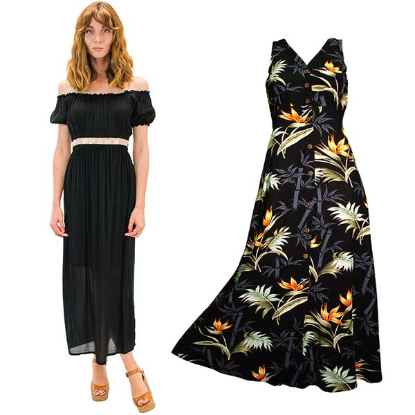 Angels by the Sea black dress and a long Bamboo Paradise Hawaiian dress