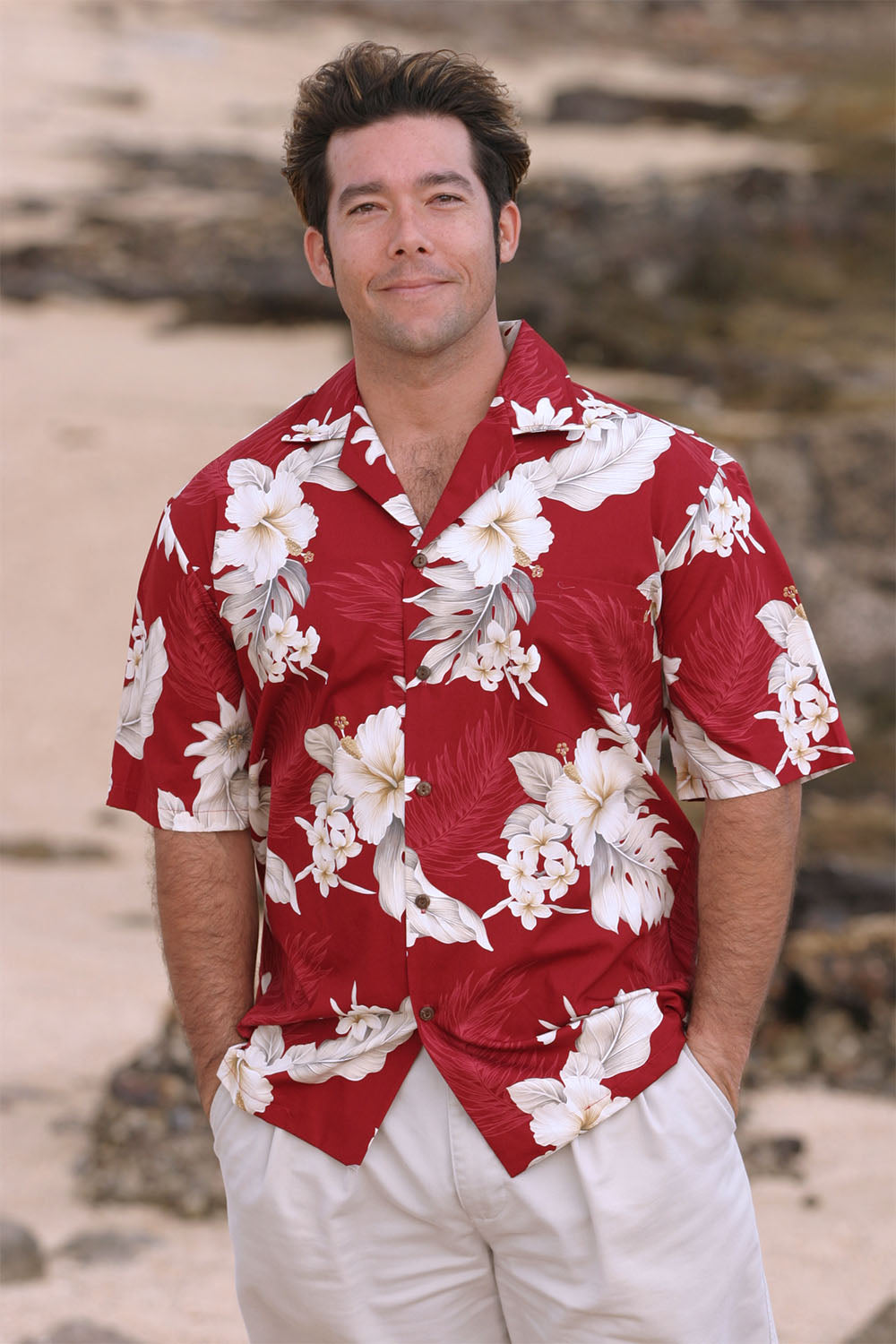 Dave in red 100% cotton Floral Garden Hawaiian shirt