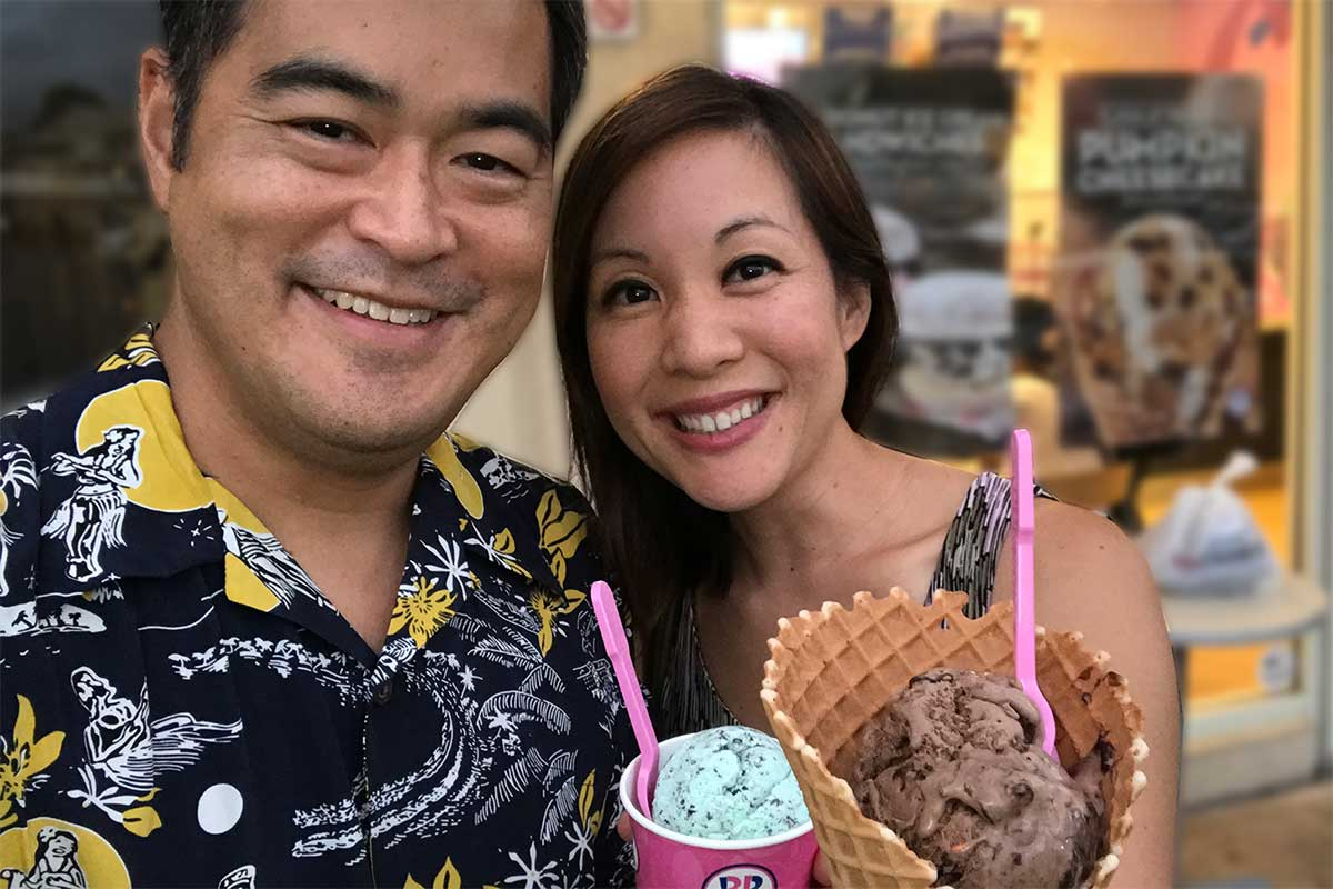getting ice cream in an aloha shirt to beat the summer heat