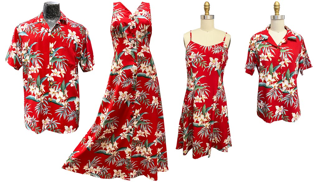 Ginger Orchid red Hawaiian shirts, tops, and dresses