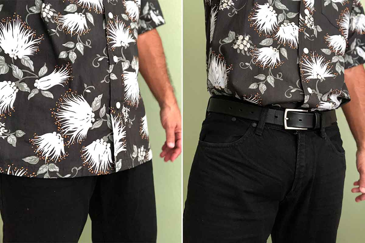 wearing a Hawaiian shirt untucked and tucked