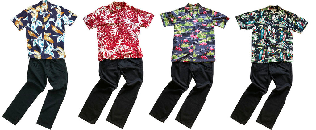 Hawaiian shirts with black jeans