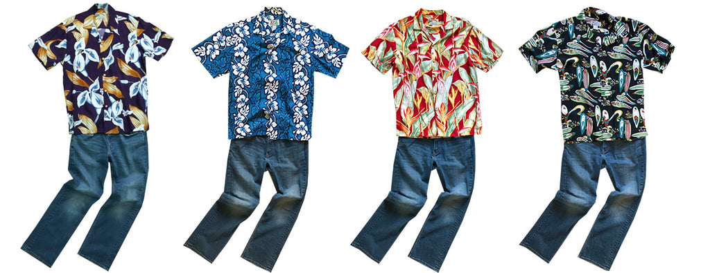 Hawaiian shirts with blue jeans