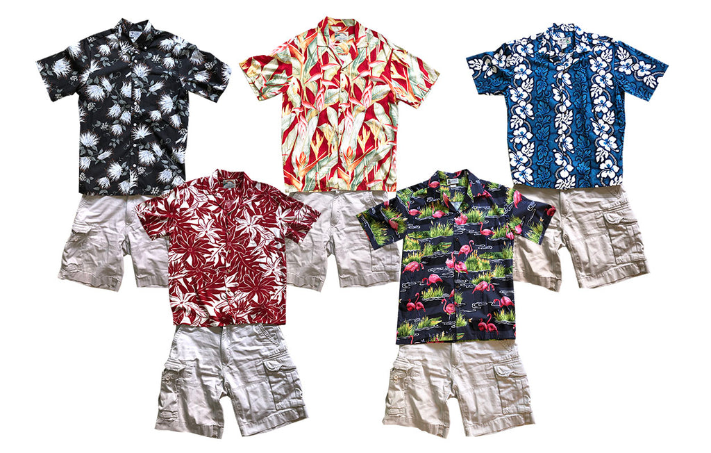 various Hawaiian shirts with khaki shorts