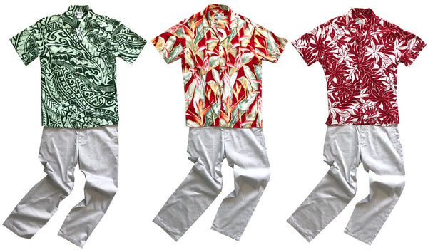 Hawaiian shirts with khaki slacks
