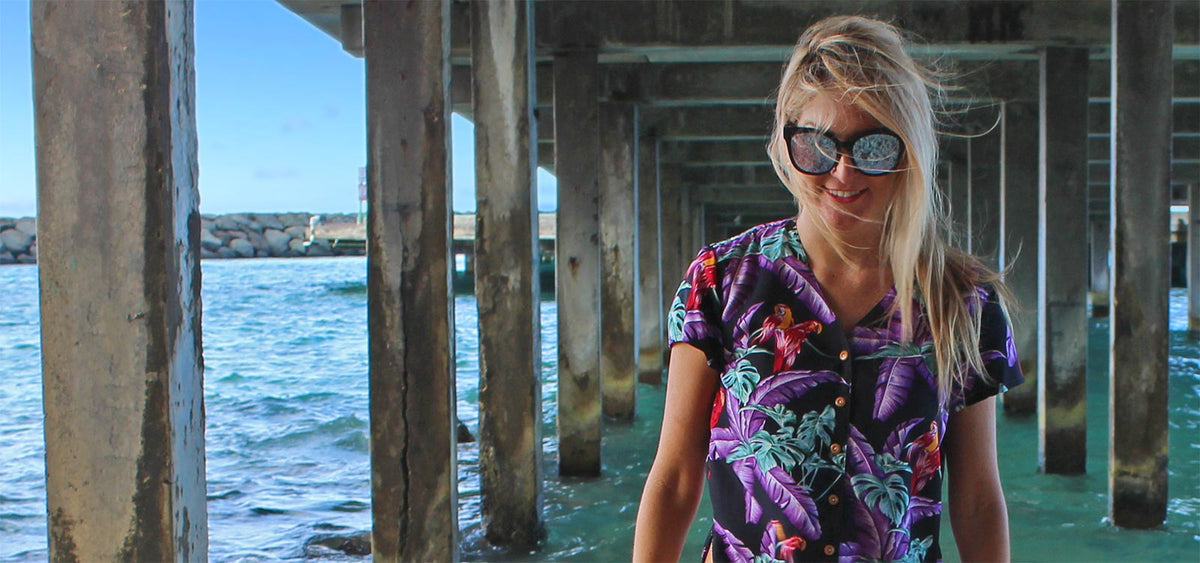 Wood Buttons Tropical Palm Trees Blouse//Shirt fits American Girl Made in USA!