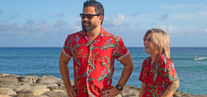 Matching Magnum PI men's shirt and women's top