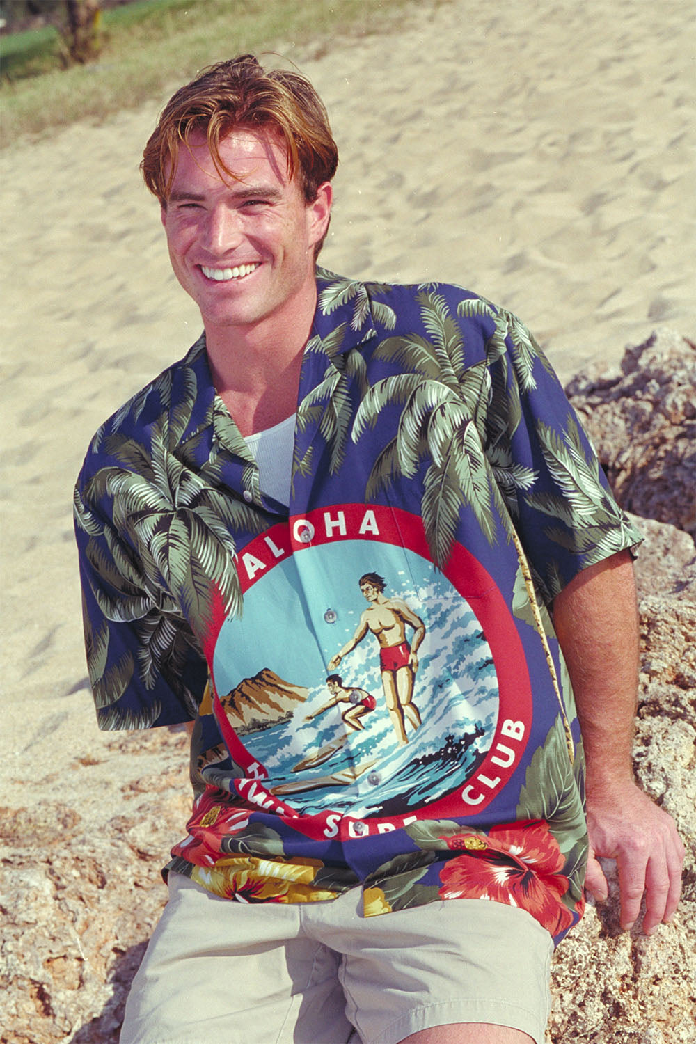Engineered Aloha shirt with surfers in front of Diamond Head