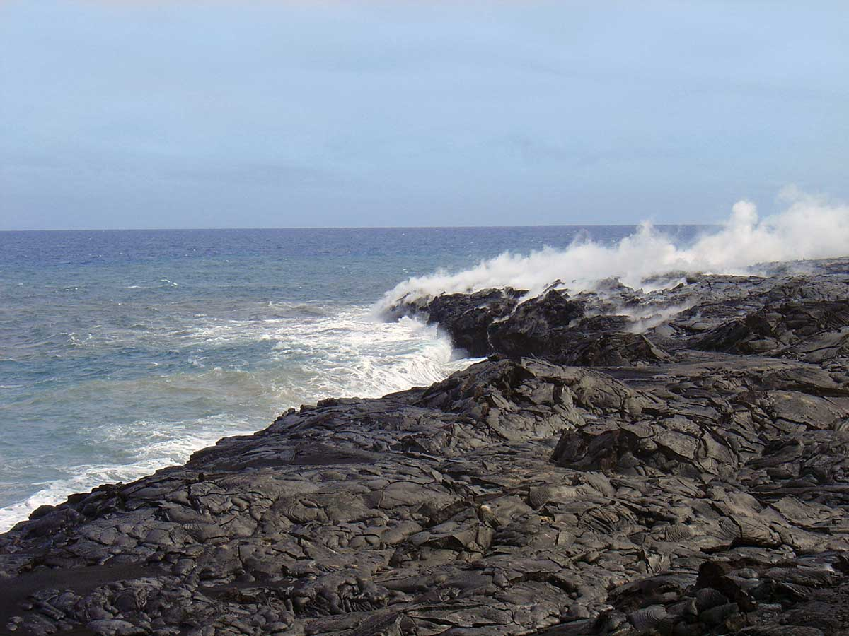 lava meets the sea at Volcanos National Park