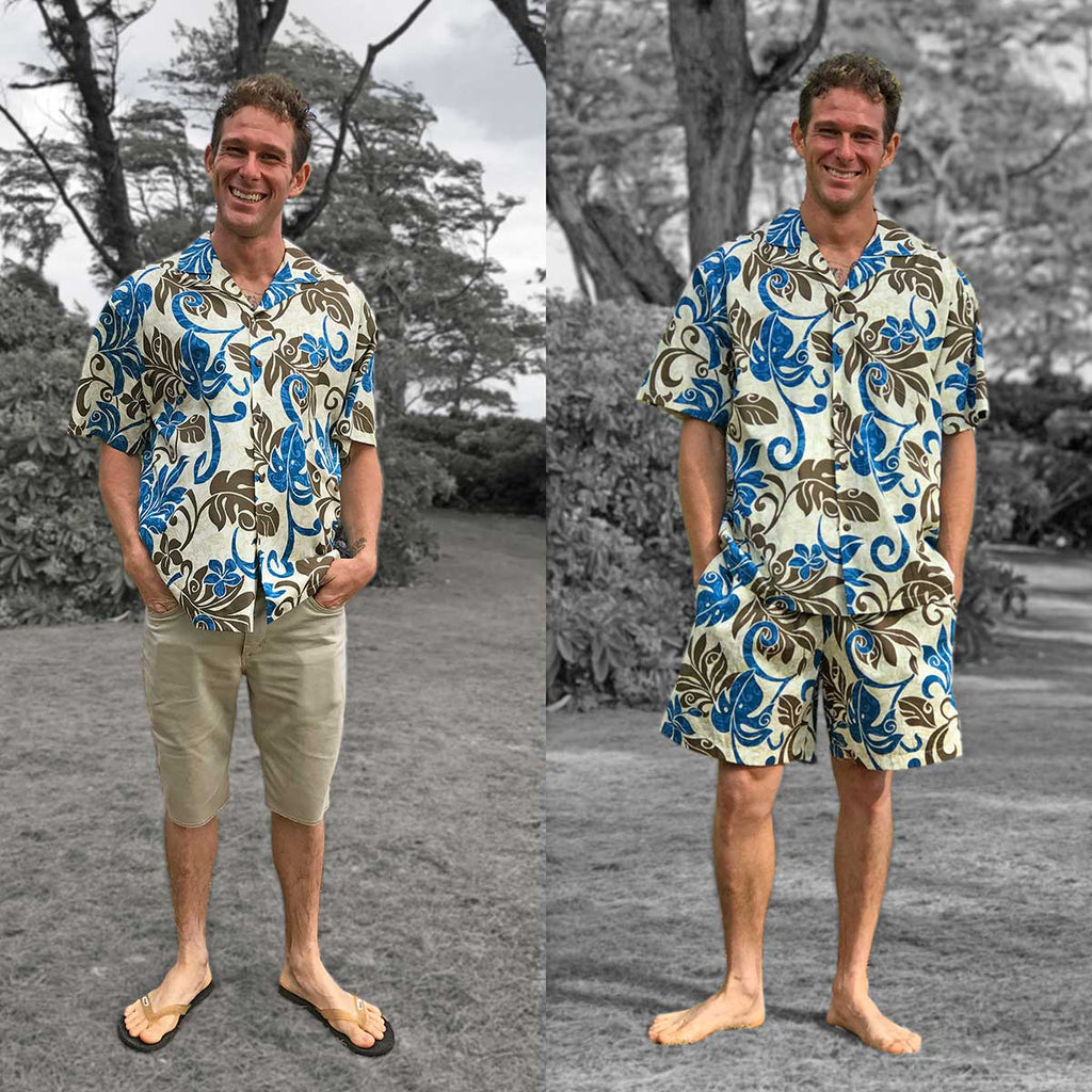 Hawaiian shirt with busy print and solid shorts versus shorts with the same busy print