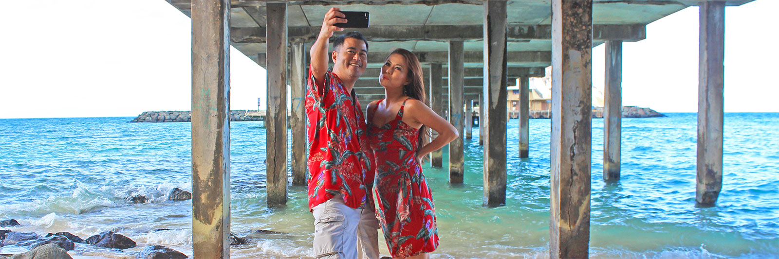 matching Magnum PI Hawaiian shirt and dress