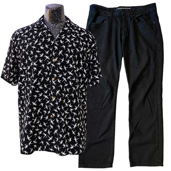 Midnight Bamboo black Hawaiian shirt with black jeans