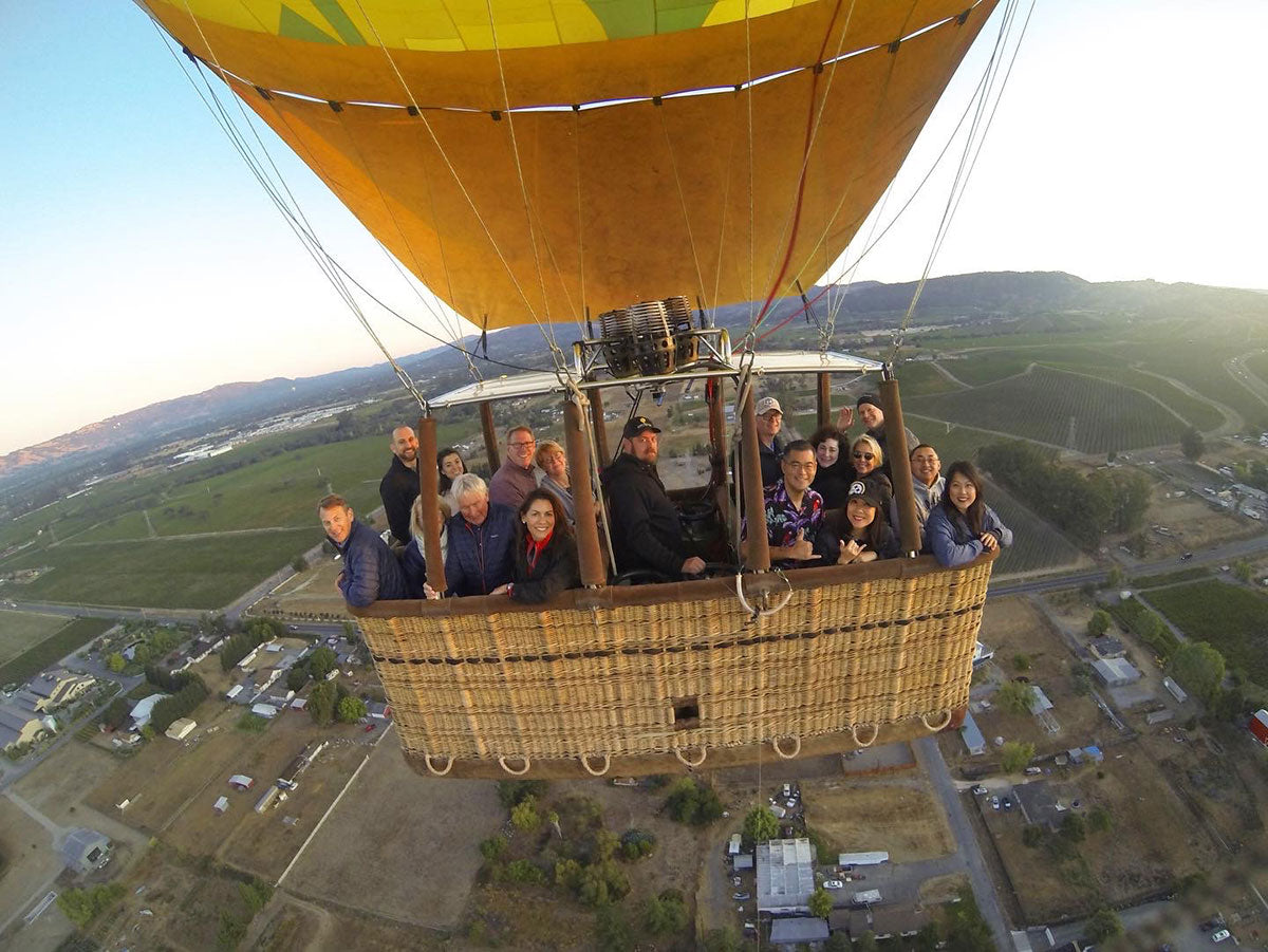 aerial group picture with Napa Valley Balloons