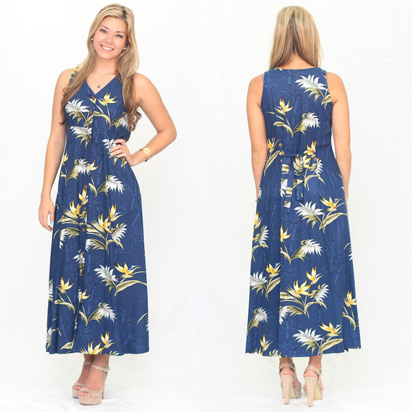 Bamboo Paradise Navy button front long dress by Paradise Found