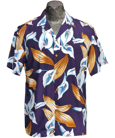 Calla Lily purple Hawaiian shirt worn on Magnum PI