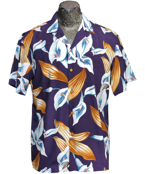 Calla Lily purple Magnum PI Hawaiian shirt