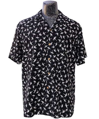 Midnight Bamboo (aka Magnum Bamboo) black Hawaiian shirt