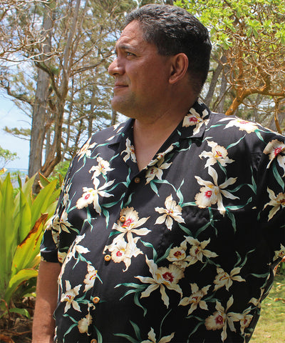 Magnum Orchid Black Hawaiian Shirt