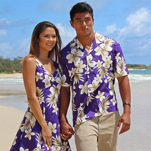 matching men's Hawaiian shirts and women's dresses and tops