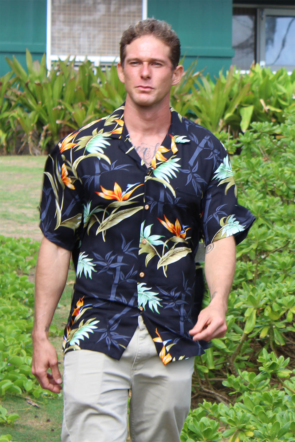 Yves in Bamboo Paradise Hawaiian shirt