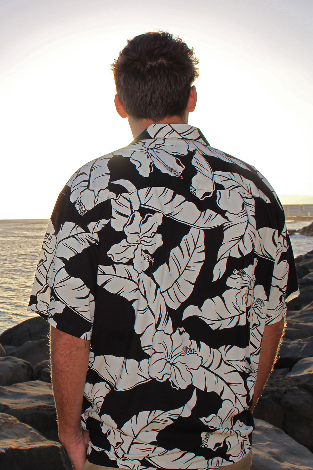 back side of 100% rayon aloha shirt