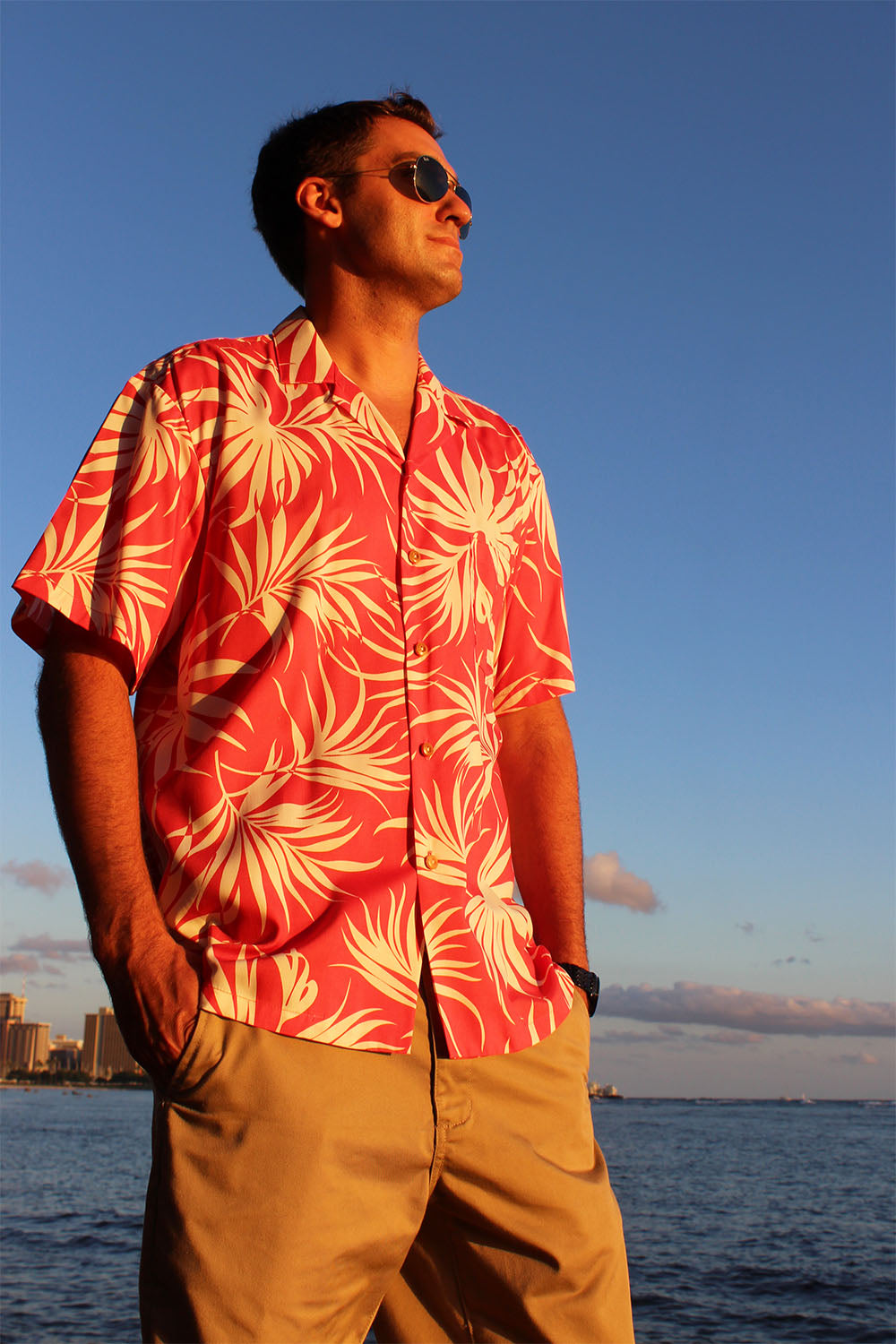 watching a sunset in rayon Hawaiian shirt