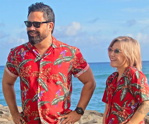 party for two in matching Magnum PI Hawaiian shirts for men and women