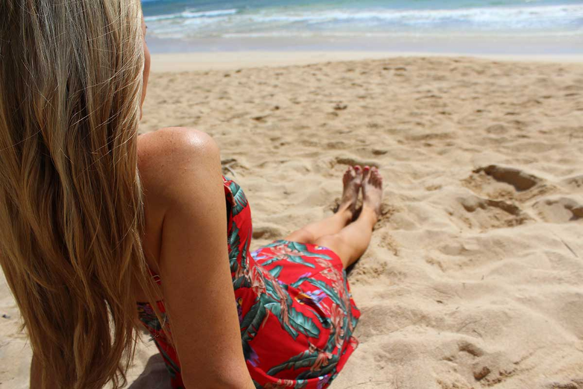 sandy toes at the beach in a Magnum PI sundress