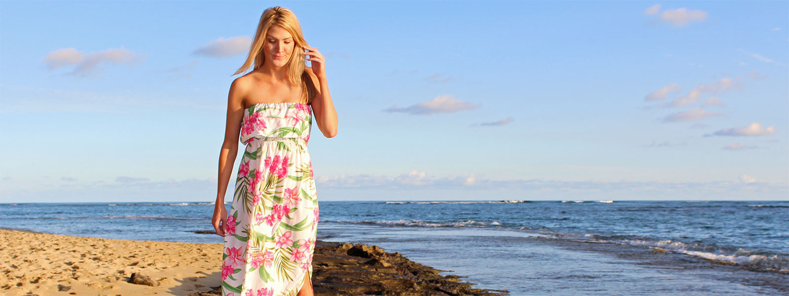 strapless full-length Hawaiian dresses with elastic waist and ruffle bodice overlay