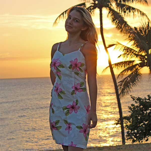 short floral spaghetti Hawaiian dress at sunset