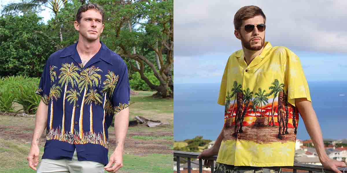 silk bottom print vintage-inspired Hawaiian shirt vs contemporary bottom design Aloha shirt