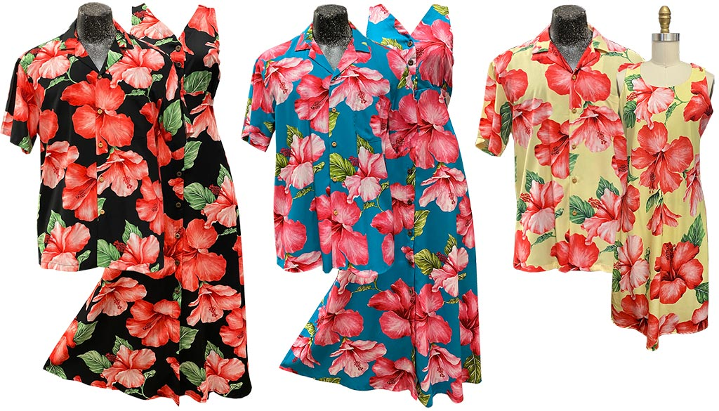 Super Hibiscus collection of shirts and dresses by Paradise Found