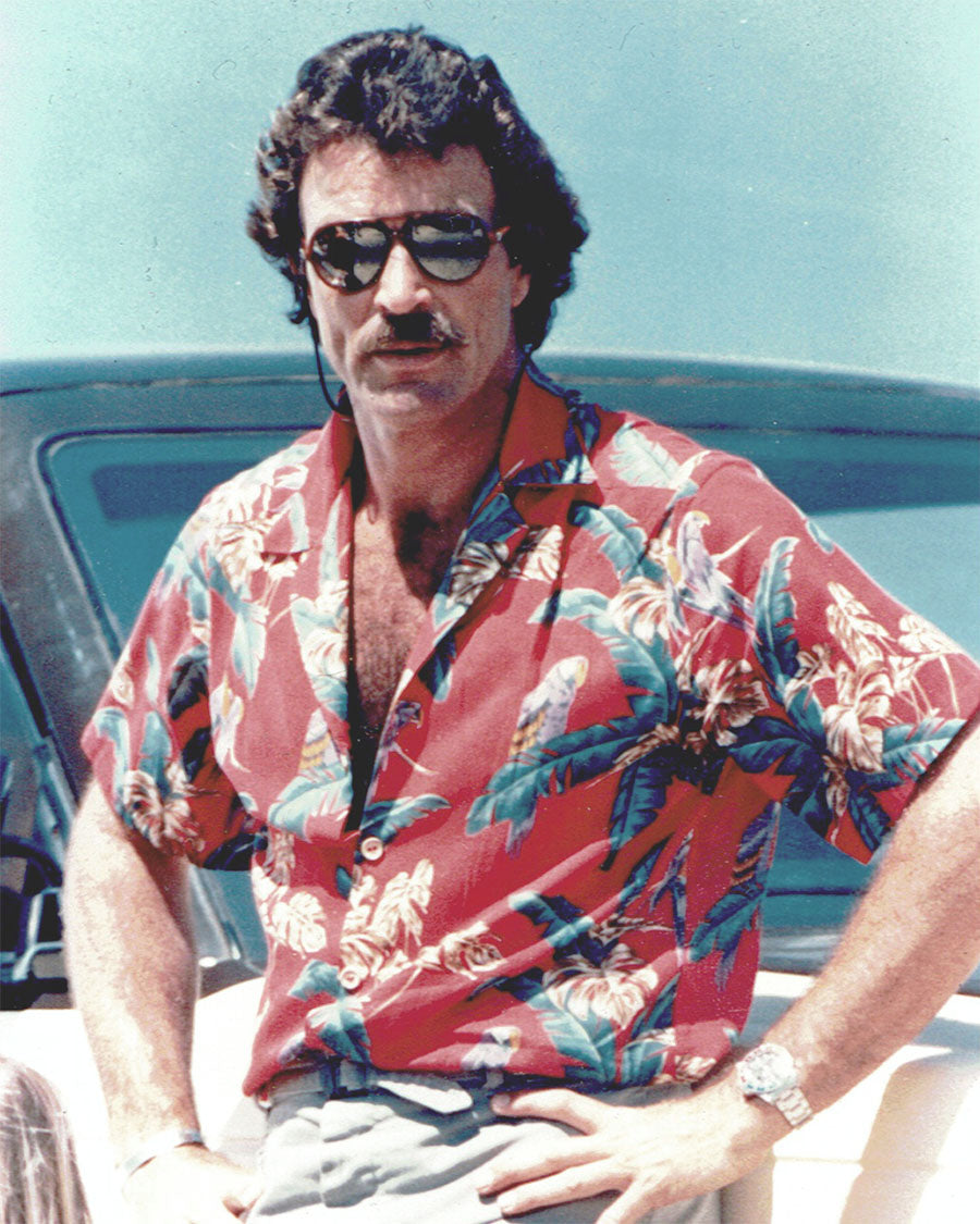 Tom Selleck wearing his famous Magnum PI Aloha shirt