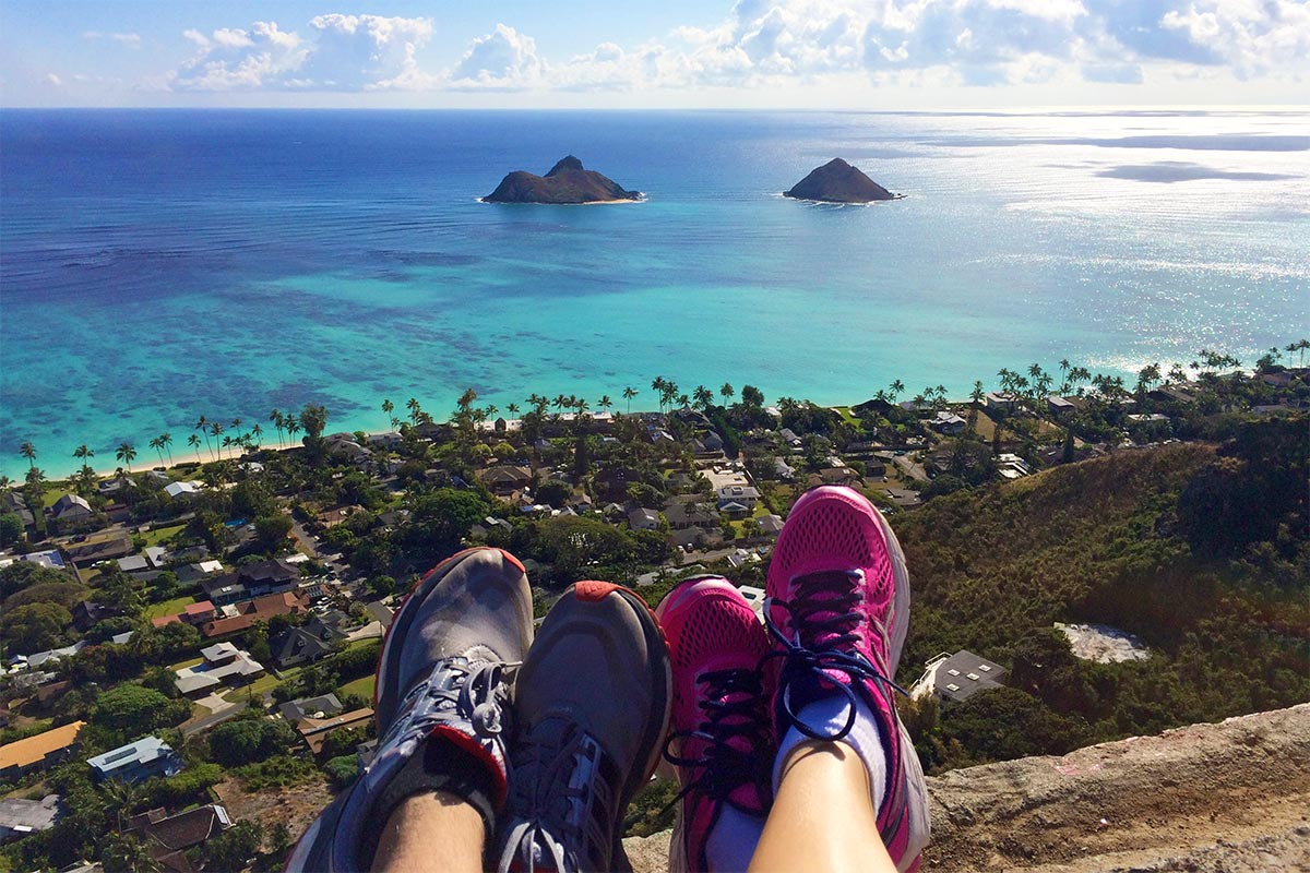 "View of the ""Two Mokes"" from above Lanikai"