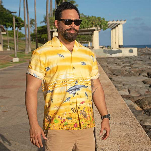 yellow shark Hawaiian shirt