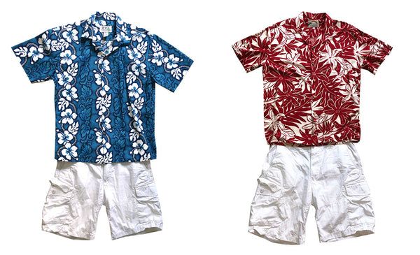white shorts with Hawaiian shirts with white vs beige accents