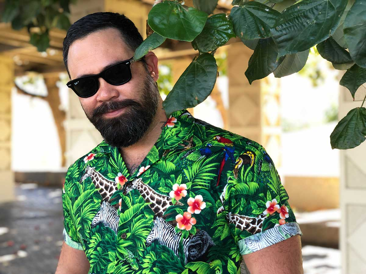 ready to party in a Wild Things Aloha shirt