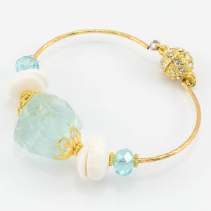 Sea Glass + Pearl Bangle