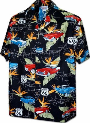 American Classic Route 66 Black Hawaiian Shirt