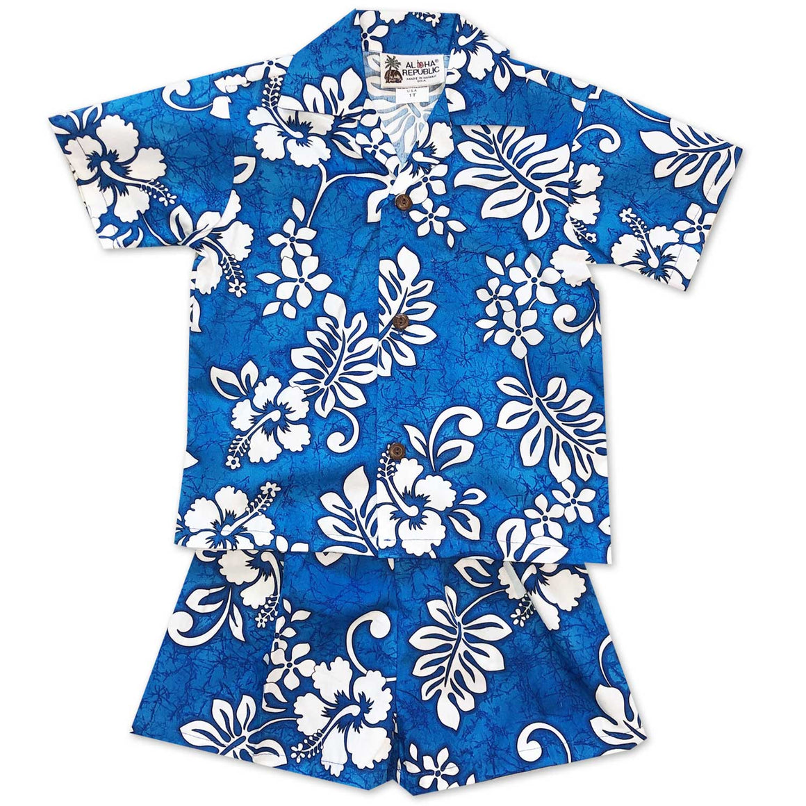 Tropic Flavor Blue Boy's Shirt and Shorts Set