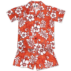 Tropic Flavor Orange Boy's Shirt and Shorts Set