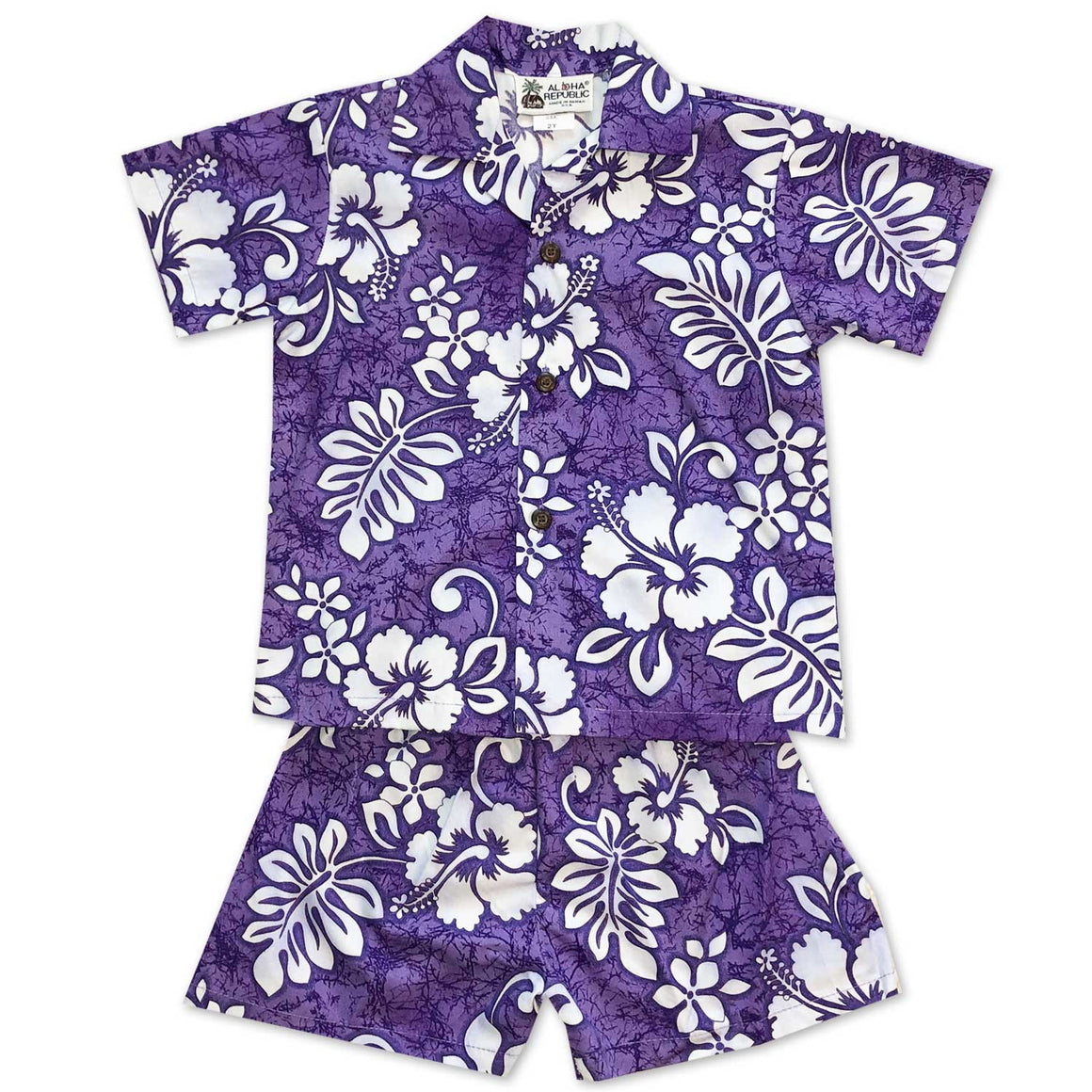 Tropic Flavor Purple Boy's Shirt and Shorts Set