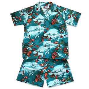 Clownfish Reef Aqua Boy's Shirt and Shorts Set